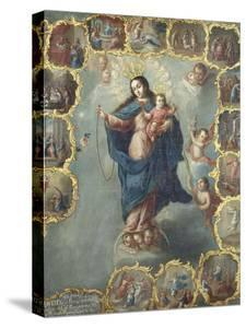 The Immaculate Conception with the Fifteen Mysteries of the Rosary by Miguel Cabrera
