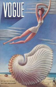 Vogue Magazine Cover - July, 1937 - Surreal Beach Fantasy by Miguel Covarrubias