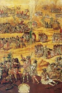 Conquest of Mexico, Spaniards Cut the Hands to the Xicotecas Spies, Museum of America, Madrid by Miguel Gonzalez