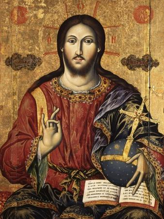 Christ Pantocrator Holding Orbe and Blessing