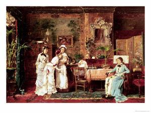 Visit to a New Mother, 1879 by Mihaly Munkacsy