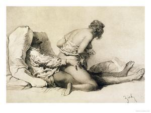 """A Man and Woman Making Love, Plate I of """"Liebe,"""" 1901 by Mihaly von Zichy"""
