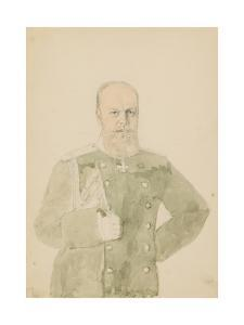 Portrait of Emperor Alexander III (1845-1894) (Pencil and W/C on Paper) by Mihaly von Zichy