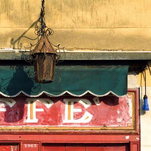 Lamp and Awning Outside Venice Caffe by Mike Burton