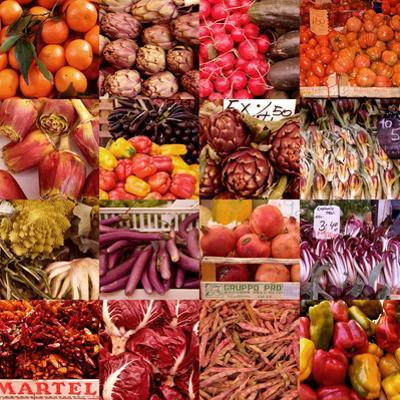 Multiple Views of Colourful Fruit and Vegetable Produce in Venice, Italy