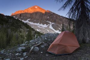Backpacking Tent Under Evening Light Hitting A Gros Ventre Mt Peak, Gros Ventre Wilderness, Wyoming by Mike Cavaroc