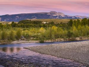 Dusk over the Gros Ventre River and Sleeping Indian by Mike Cavaroc