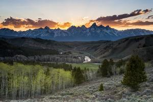 Gros Ventre Road Winds into Grand Teton National Park Along the Gros Ventre River, Wyoming by Mike Cavaroc