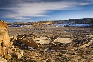 Sun Sets Over Chaco Canyon And Pueblo Bonito In Chaco Culture National Historic Park, New Mexico by Mike Cavaroc