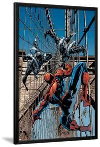 Amazing Spider-Man No.512 Cover: Spider-Man and Stacy Twins Fighting and Flying by Mike Deodato