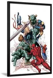 New Avengers No.23 Cover: Skaar, Daredevil, Spider-Man, Ms. Marvel, and Wolverine Fighting by Mike Deodato