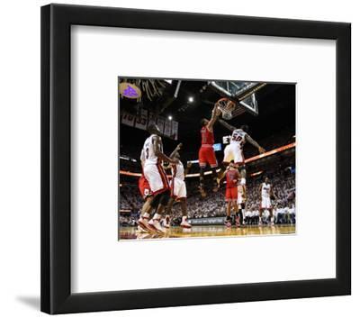 Chicago Bulls v Miami Heat - Game Four, Miami, FL - MAY 24: Derrick Rose, Joel Anthony and LeBron J