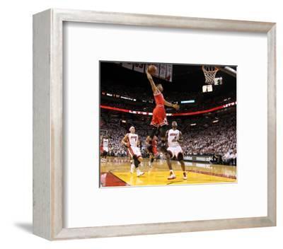 Chicago Bulls v Miami Heat - Game Four, Miami, FL - MAY 24: Derrick Rose, LeBron James and Mike Bib