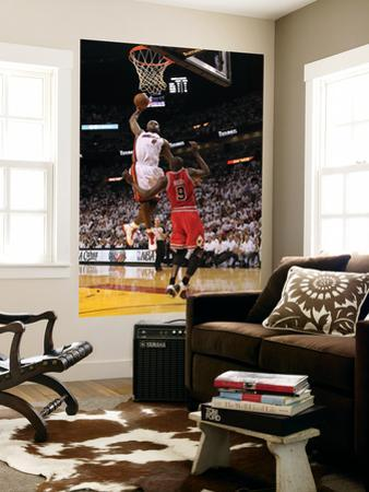 Chicago Bulls v Miami Heat - Game FourMiami, FL - MAY 24: LeBron James and Luol Deng