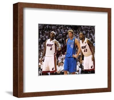 Dallas Mavericks v Miami Heat - Game One, Miami, FL - MAY 31: LeBron James, Dirk Nowitzki and Udoni