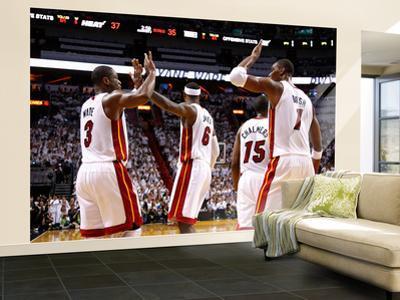 Miami, FL - June 17: Dwyane Wade, LeBron James and Chris Bosh