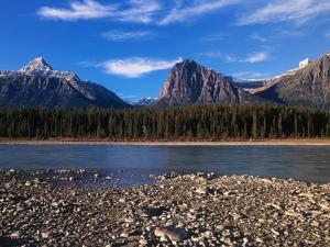 Canada, Alberta, Athabasca River and Canadian Rockies in Jasper NP by Mike Grandmaison