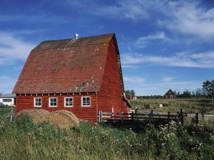 Canada, Alberta, Red Barn by Mike Grandmaison