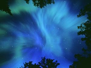 Northern Lights Or Aurora Borealis, Tilton Lake, Sudbury, Ontario, Canada. by Mike Grandmaison