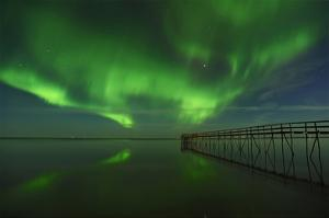 Northern Lights Reflected in Lake Winnipeg I by Mike Grandmaison