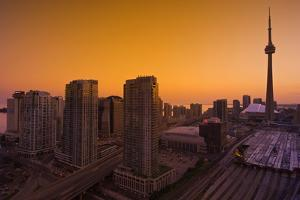 Toronto. City at Dusk with Cn Tower by Mike Grandmaison