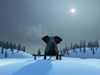 Elephant and Dog at Christmas Night by Mike_Kiev