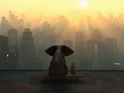 Elephant and Dog Sit on the Roof of a Skyscraper