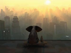 Elephant and Dog Sit on the Roof of a Skyscraper by Mike_Kiev