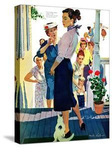 """Strangers in Town, 2 - Saturday Evening Post """"Leading Ladies"""", May 30, 1959 pg.19 by Mike Ludlow"""