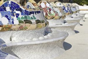 Close-Up of Mosaics on Gaudi Building, Parc Guell, Barcelona, Spain by Mike Randolph