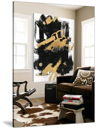 Gold Black Abstract Panel I by Mike Schick