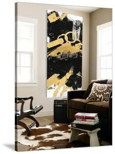 Gold Black Abstract Panel II by Mike Schick