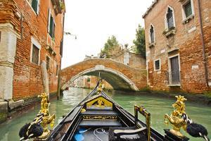 A View of Buildings and a Bridge from the Prow of Gondola in a Side Canal of Venice by Mike Theiss
