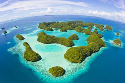An Aerial Fisheye Lens View of Palau's Rock Islands in the Turquoise Waters of the Pacific Ocean by Mike Theiss