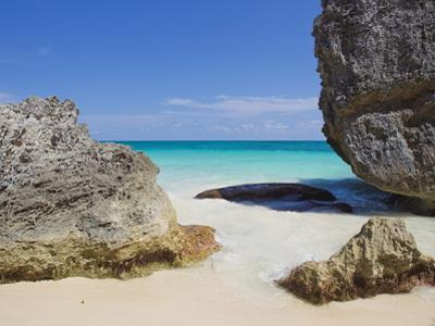 Large Boulders on the Beach Near Tulum, Mexico by Mike Theiss