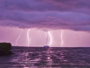 Lightning Bolts Striking the Ocean, and Almost Hitting a Sailboat by Mike Theiss