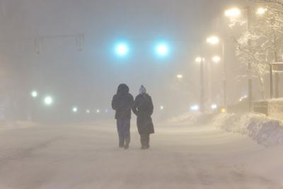 Nighttime Street Scene During the Historic Blizzard That Hit Boston in 2013 by Mike Theiss