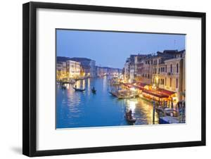 Outdoor Cafes and Gondolas Line Venice's Grand Canal Reflecting City Lights at Dusk by Mike Theiss
