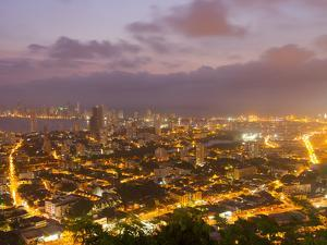 Overlooking Cartagena, Colombia Lit Up at Night by Mike Theiss