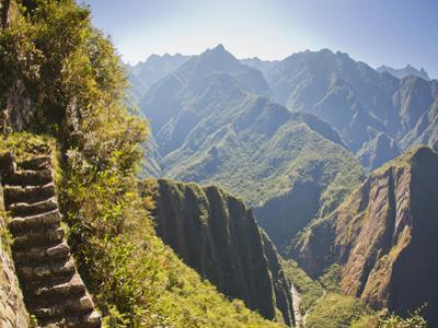 Steep Stairs on a Mountain Side on the Inca Trail at Machu Picchu by Mike Theiss