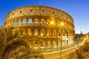 The Ancient Roman Colosseum Casts an Illuminated Golden Light at Dusk by Mike Theiss