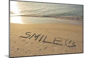 The Word Smile Written in the Sand on a Beach by Mike Theiss