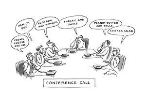 """""""Conference Call"""" - New Yorker Cartoon by Mike Twohy"""