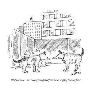 """Did you hear?we're being transferred from bomb-sniffing to trans fats."" - New Yorker Cartoon by Mike Twohy"