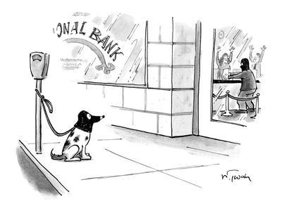 Dog in mask waits while thief in mask robs bank. - New Yorker Cartoon