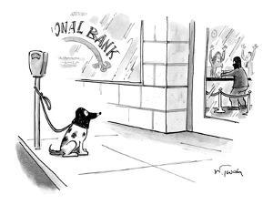 Dog in mask waits while thief in mask robs bank. - New Yorker Cartoon by Mike Twohy