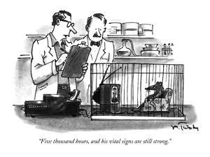 """""""Five thousand hours, and his vital signs are still strong."""" - New Yorker Cartoon by Mike Twohy"""