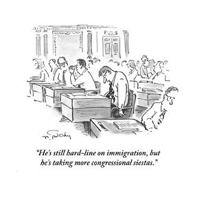 """""""He's still hard-line on immigration, but he's taking more congressional s?"""" - Cartoon by Mike Twohy"""