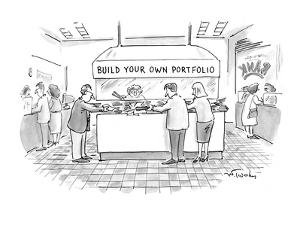 In a bank or another financial institution, people with salad tongs are ga? - New Yorker Cartoon by Mike Twohy