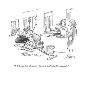 """It helps cut post-op recovery times, as well as health-care costs."" - Cartoon by Mike Twohy"